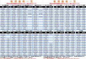 新規修理価格表